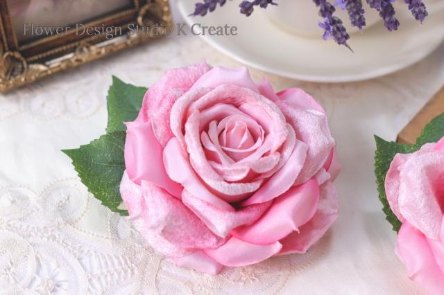 再販:フラメンコ(フローレス)・ウェディング・成人式に 大輪のピンクの薔薇の髪飾り