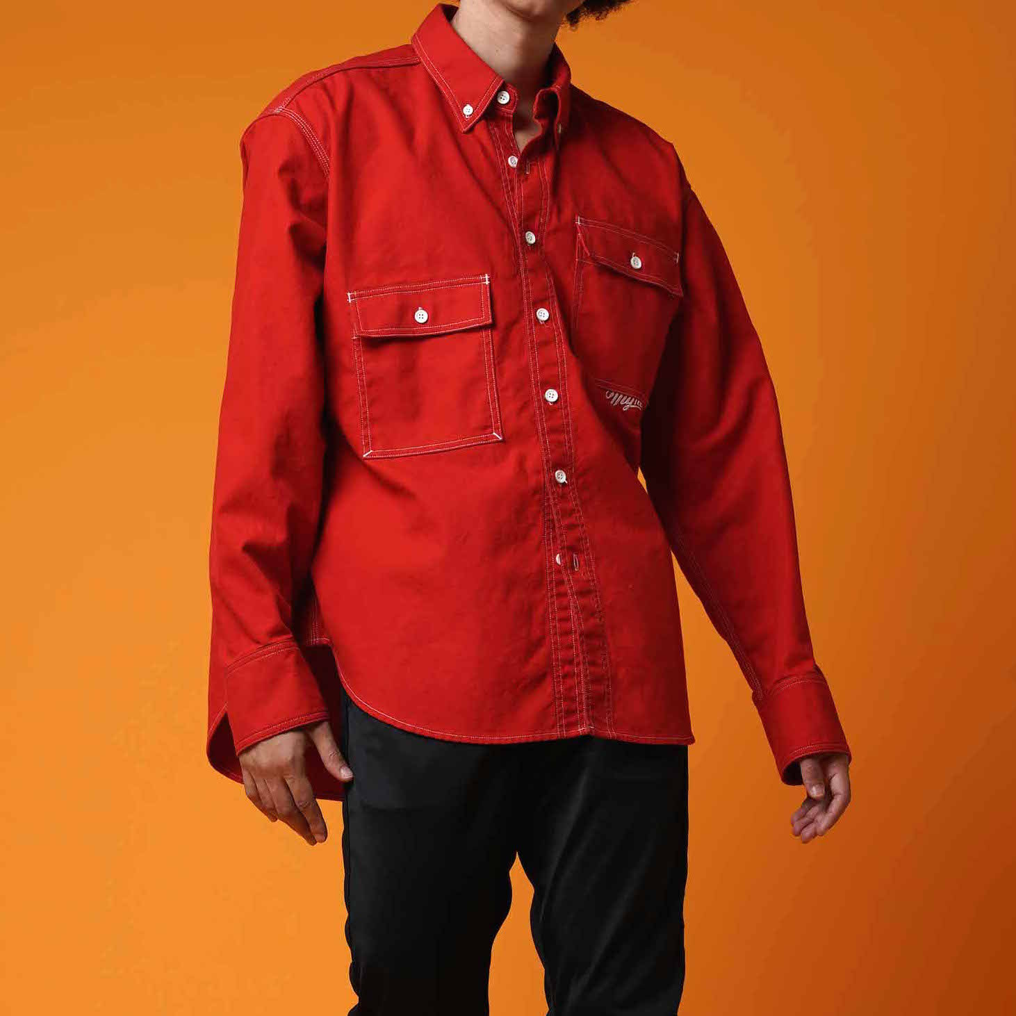 OVER SIZE SHIRT / RED - 画像3