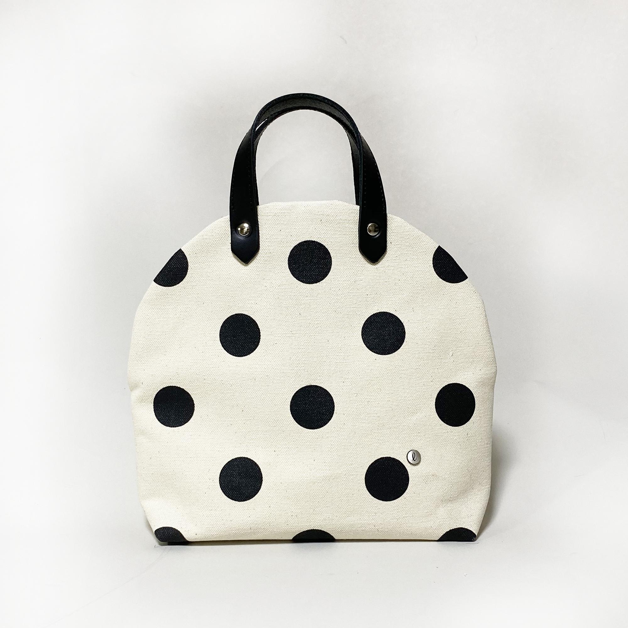 cupcake bag/black × polka dot カップケーキバッグ/ 墨 x 水玉