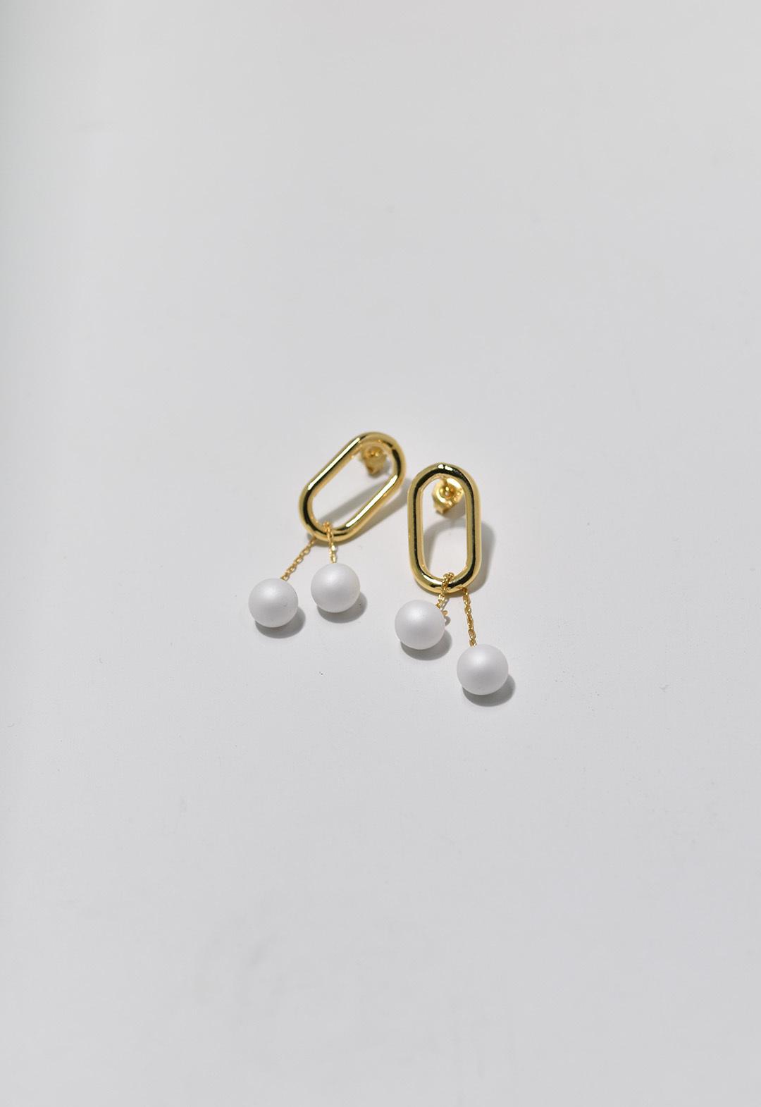 framed pearl pierce White