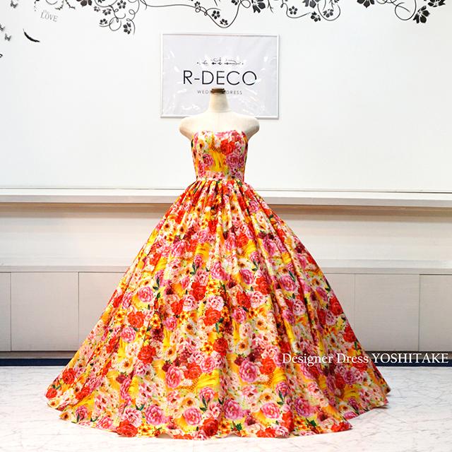 【オーダー制作】ウエディングドレス オレンジ花柄ドレス(小さな花柄バージョン) 披露宴/お色直し ※制作期間3週間から6週間