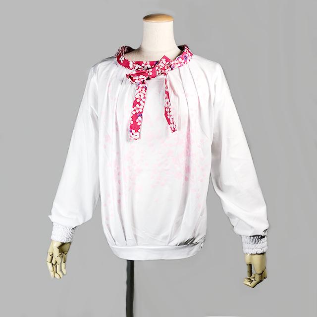 ネクタイ付き桜プリントTシャツ/WH-RD/GGD25-T002