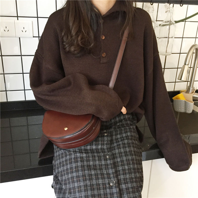 【送料無料】シンプル ポロシャツ風ニット トップス