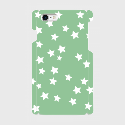iPhone7 スマホケース ☆スター×グリーン☆側表面印刷ツヤ有り(コート)