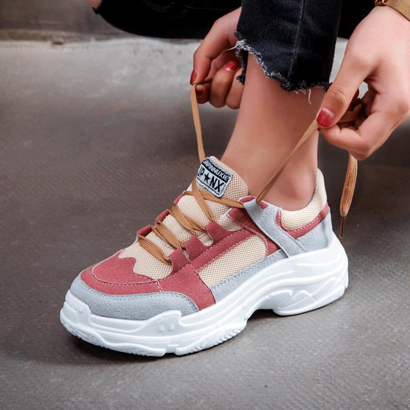 【shoes】カジュアルPU切り替えし厚底スニーカー14944132