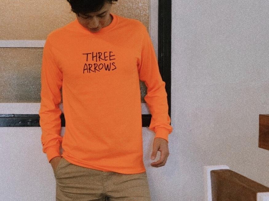 【11/2 21:00 再入荷】THREEARROWS LOGO L/S TEE(orange)