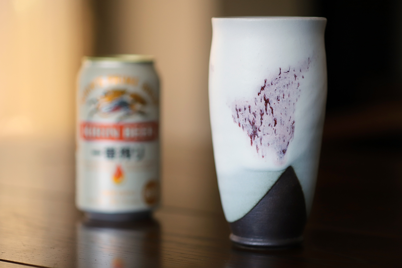 雪中華 麦酒杯(大) 作:谷井芳山・谷寛窯(信楽焼)