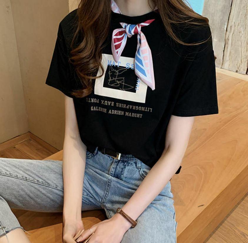 【送料無料】 おしゃれTシャツ♡ シルク スカーフ コンピネーション デザイン Tシャツ 半袖