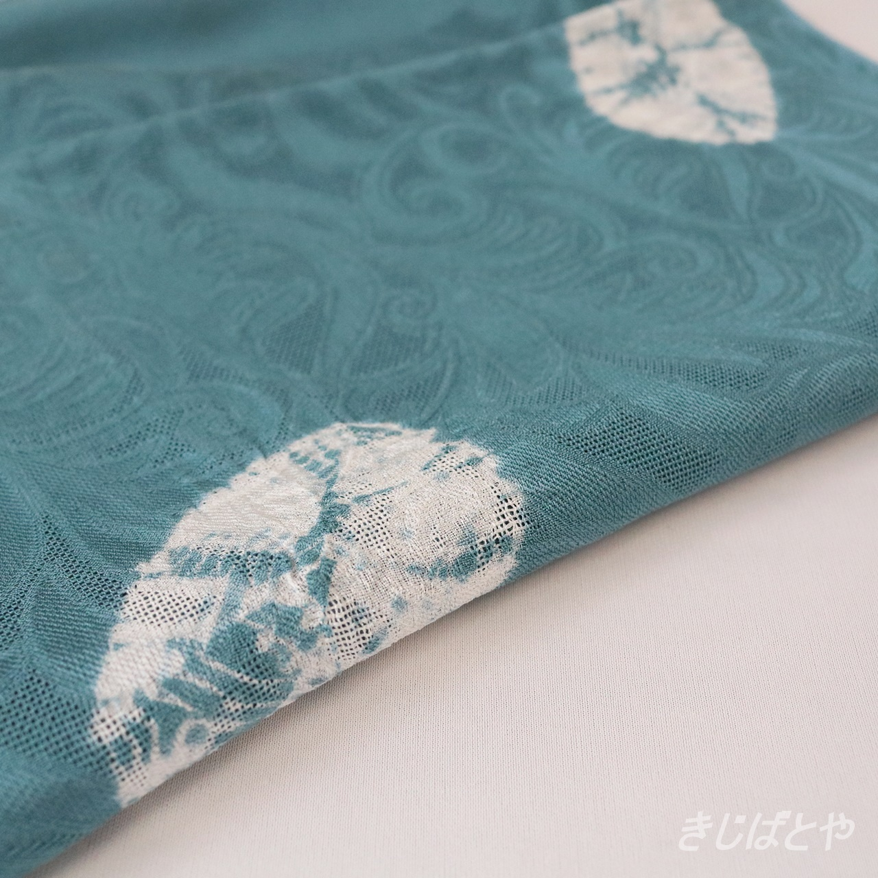 正絹絽 絞りの帯揚げ 藍砥茶