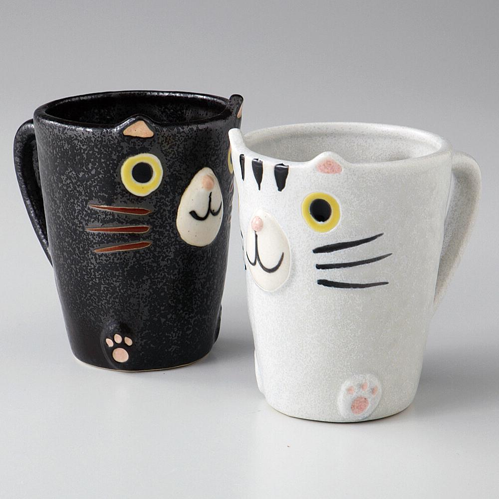 猫マグカップ(美濃焼トラ猫)ペア