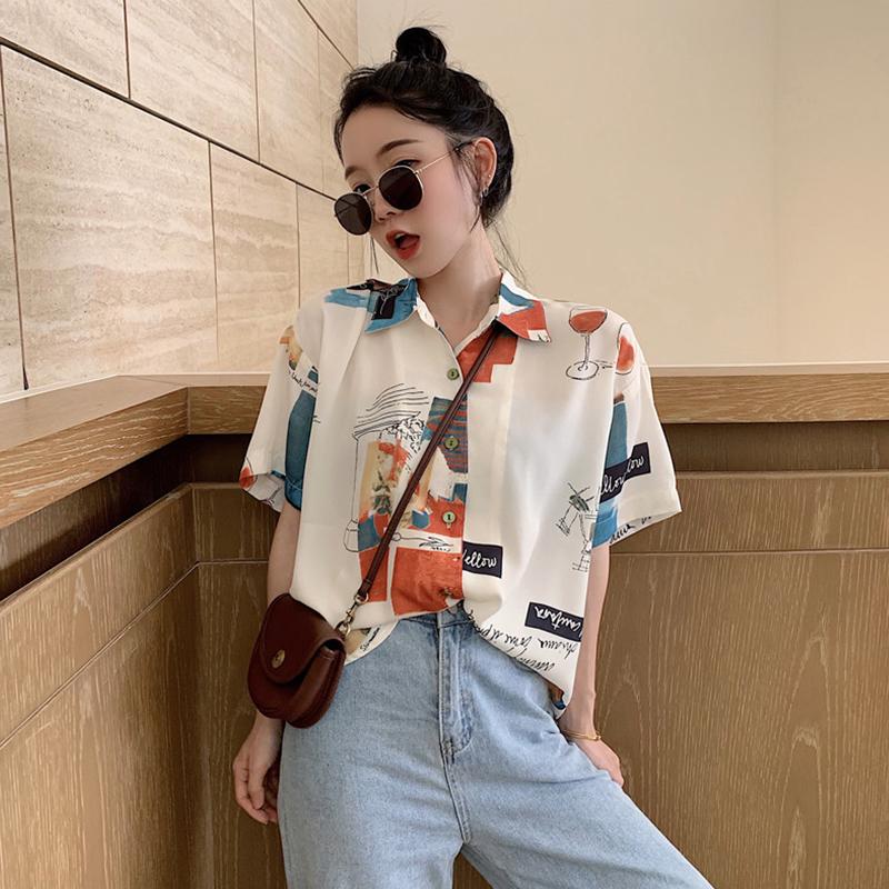 【tops】ストリート系配色シングルブレストシャツ21881120