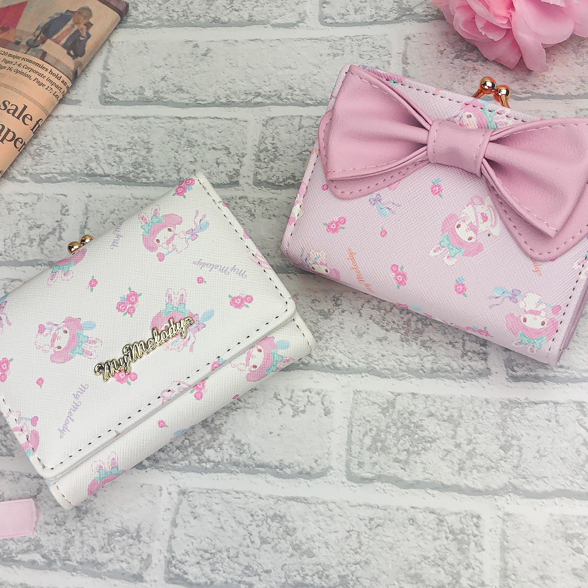 マイメロディ リボンミニ口金財布(ピンク/ホワイト)