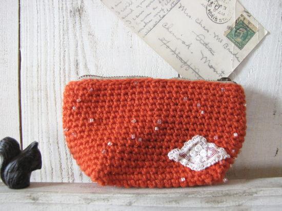 手編みのポーチ 小*オレンジ ビーズ/sakura 型番:P-5