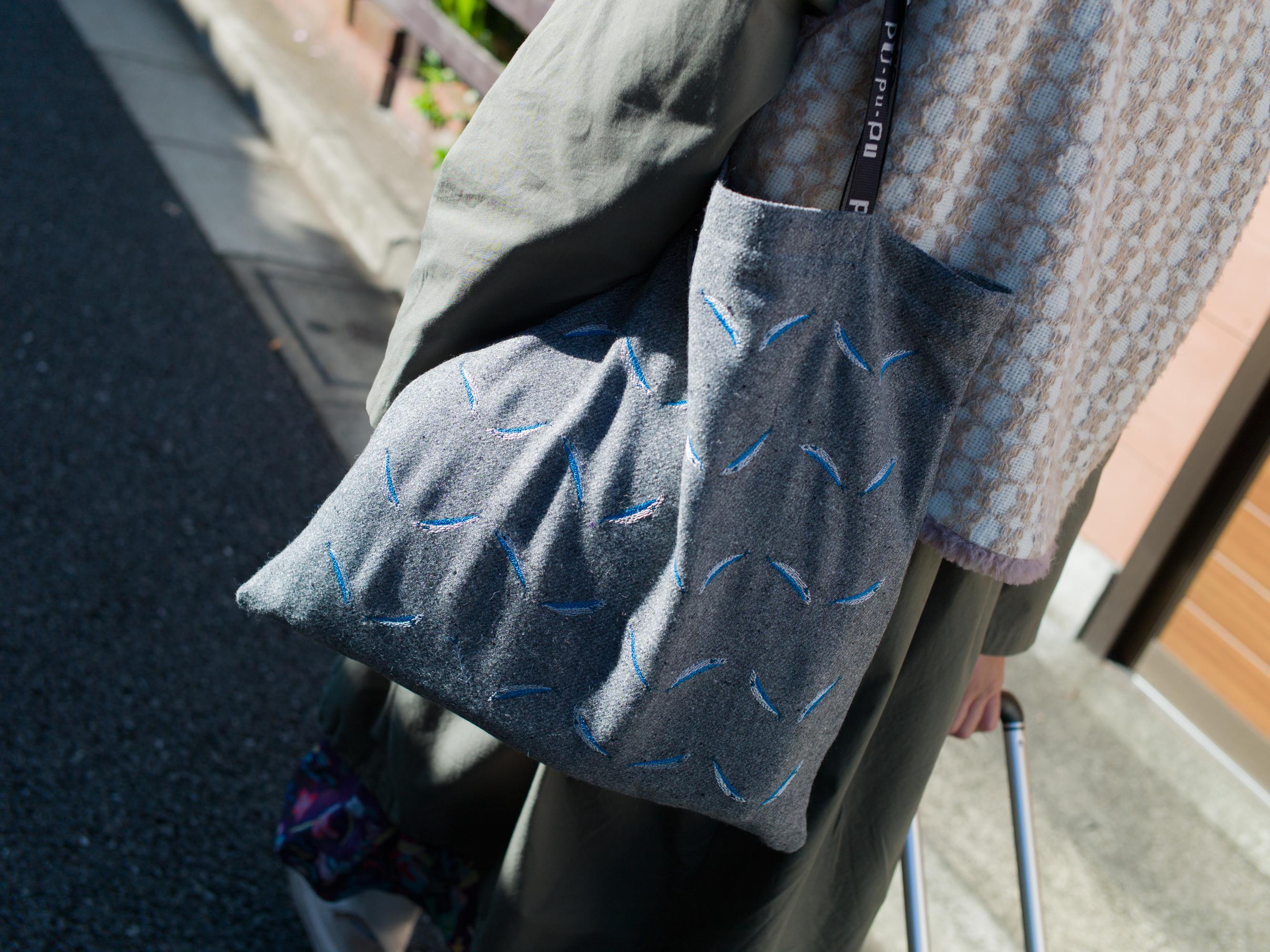 刺繍なトートバッグ/サンマ