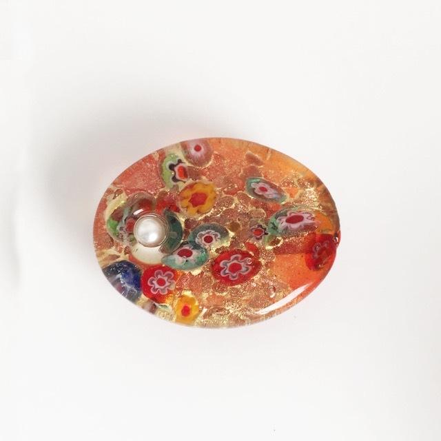 ベネチアングラスの帯留め(オレンジ)