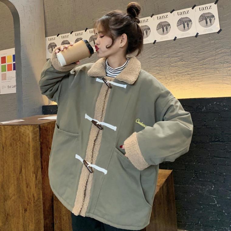 【送料無料 】ボア & ミリタリー ♡ 刺繍 ロゴ カジュアル オーバーサイズ ダッフル ジャケット コート アウター