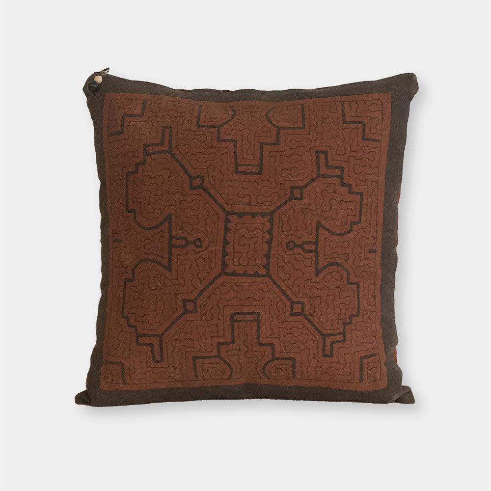 S057 日焼けあり SHIPIBO TEXTILES シピボ族の泥染めの布 クッションカバー茶片面