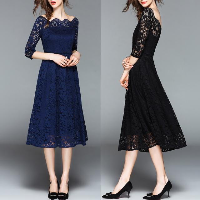 スカラップレース ドレス フィット&フレア