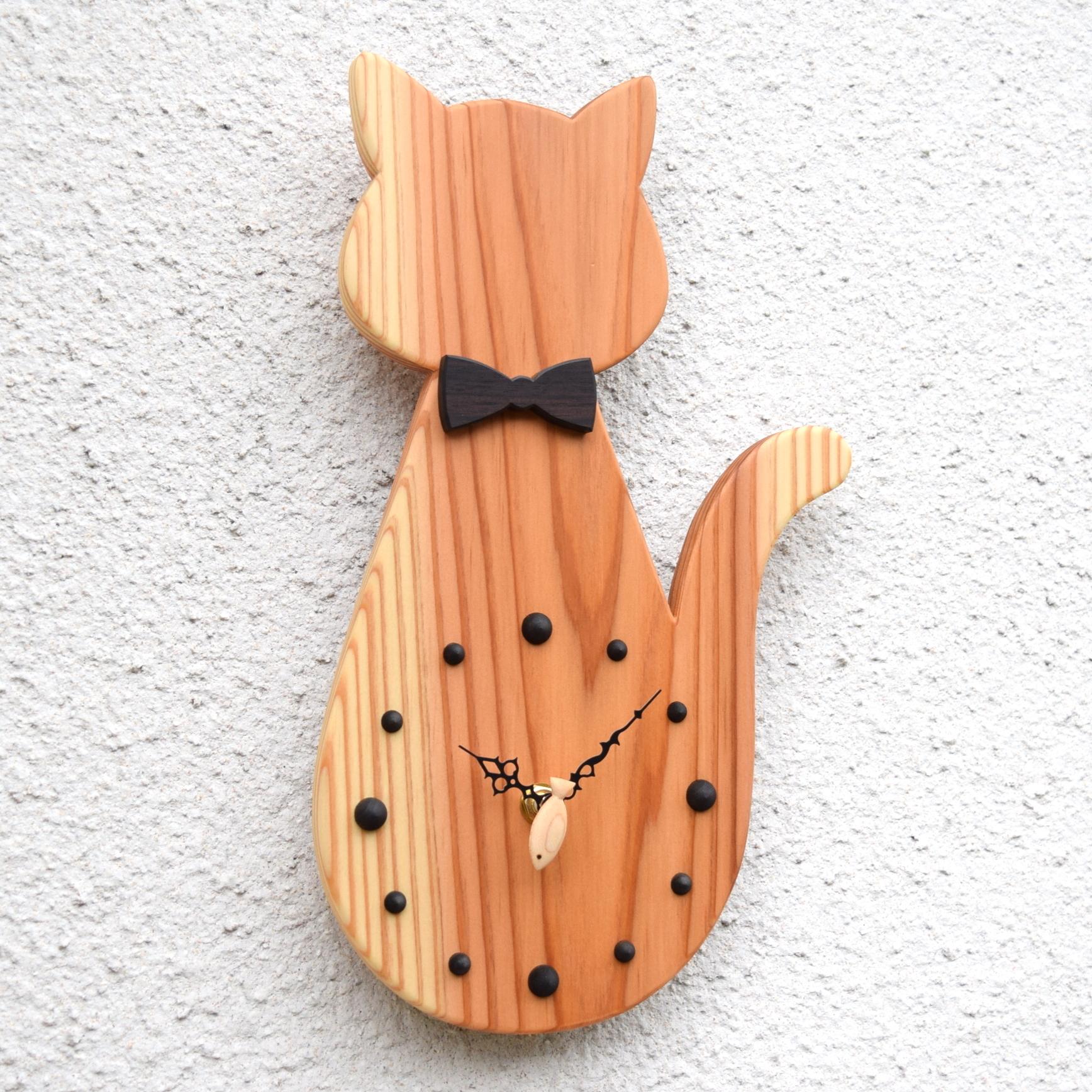 【魚秒針】掛時計『お座りネコ クリア』【智頭杉】