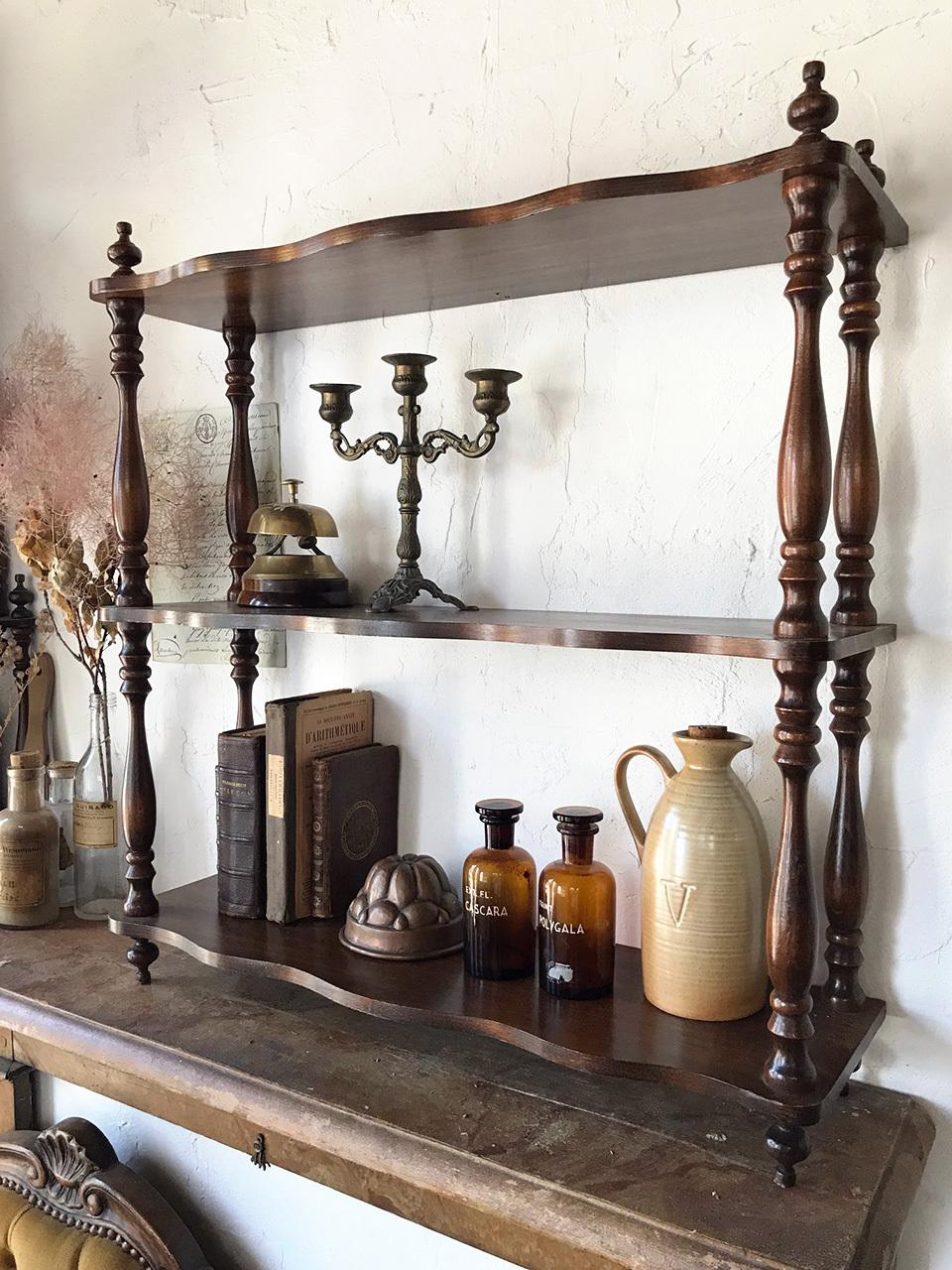 木製 3段シェルフ 壁付棚