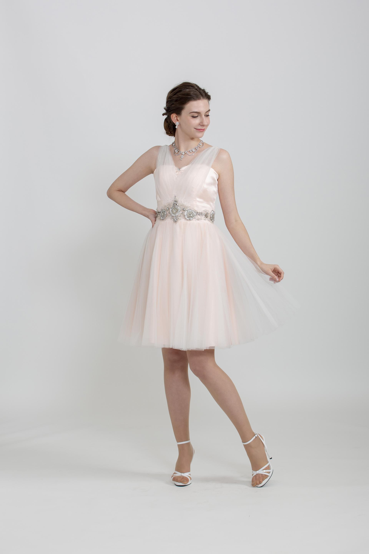 【販売】ピンクチュールミニドレス