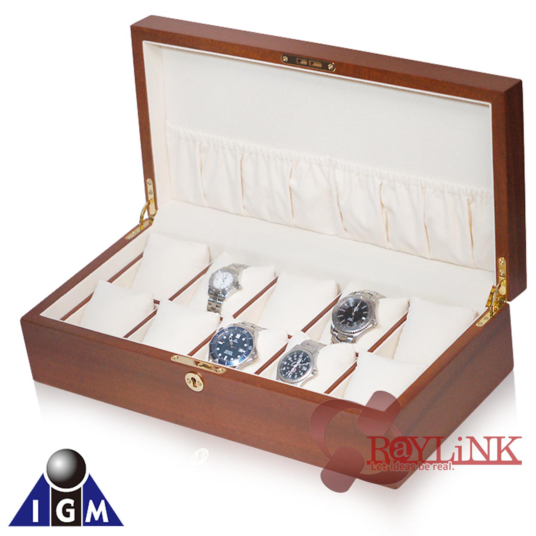 高級木材を贅沢に使用 IGIMI エルムバール木目調 時計10本用ケース