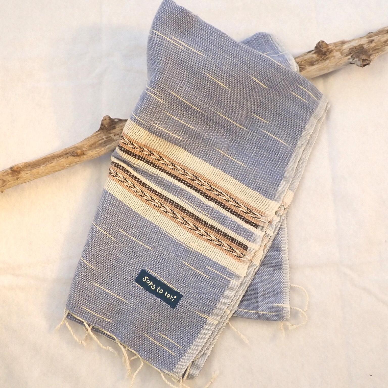 チェンマイ 草木染め手織りストール 水色