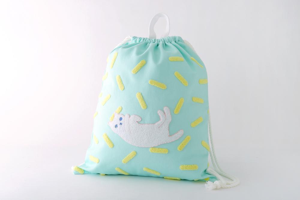 ネコサガラ刺繍ナップサック ミントグリーン