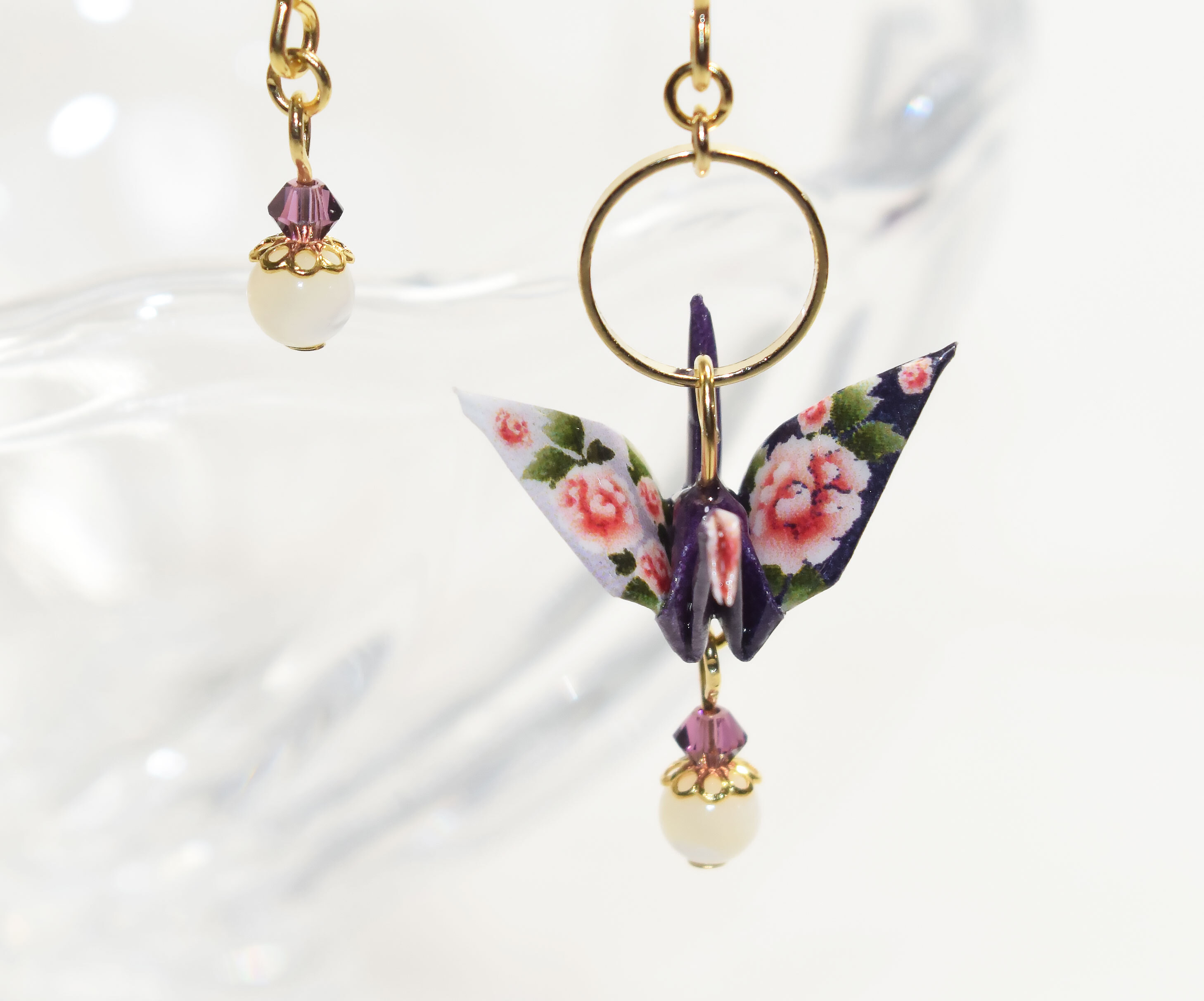 牡丹柄折り鶴紫