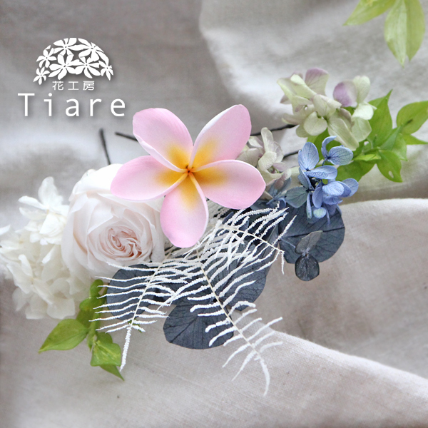 【ヘッドドレス】バラ、プルメリア、紫陽花、ユーカリのヘッドドレス(ヘッドピース、ヘアパーツ、髪飾り)