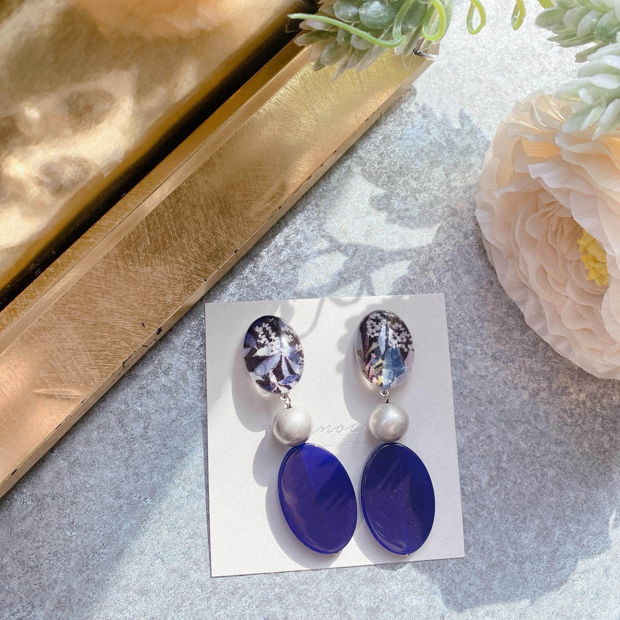 """"""" Earrings NO.danoan-103″ リバティネイビーヴィンテージビーズ"""