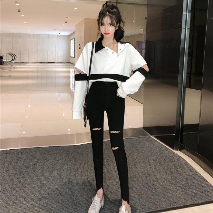【set】[単品注文]ファッション配色パーカー+パンツセットアップ25599838