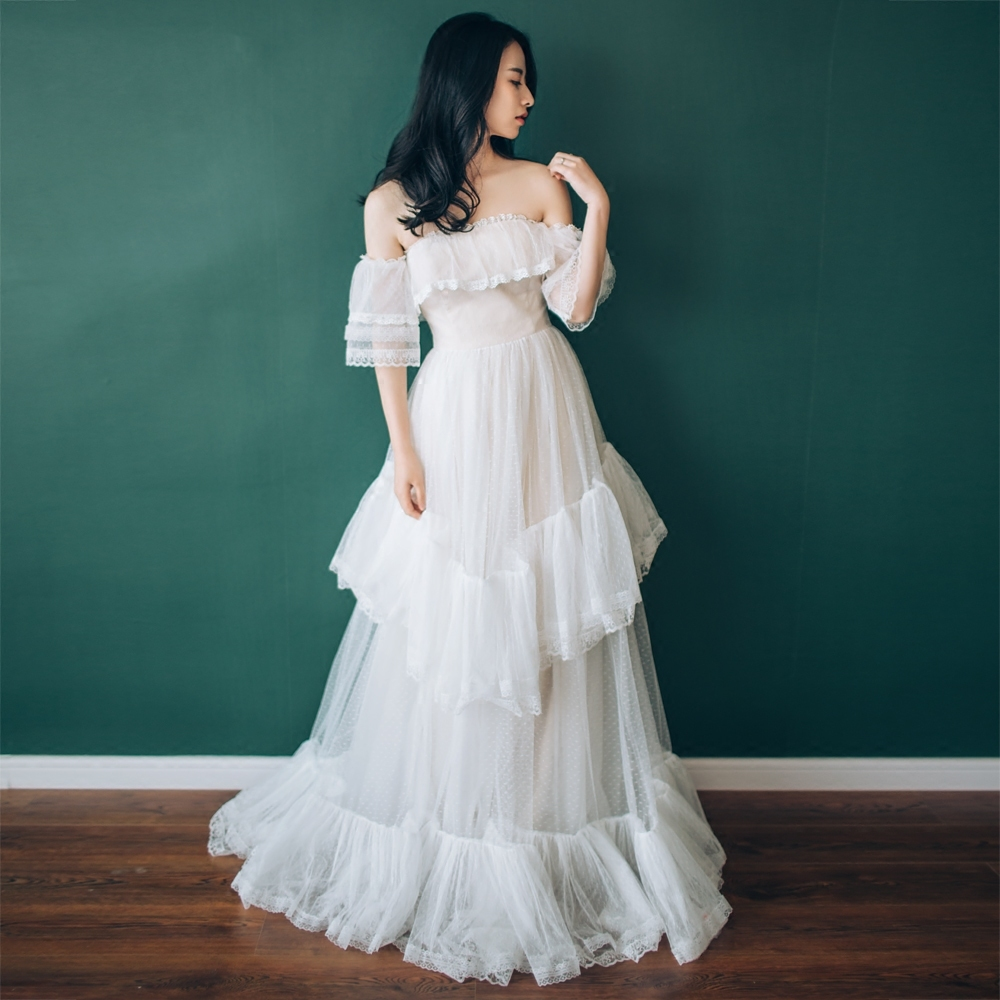 【DearWhite】ウェディングドレス Aライン プリンセス エンパイア デコルテ 結婚式 披露宴 二次会 パーティーウェディングドレス・カラードレス・サイズオーダー格安オーダーメイド DW00018