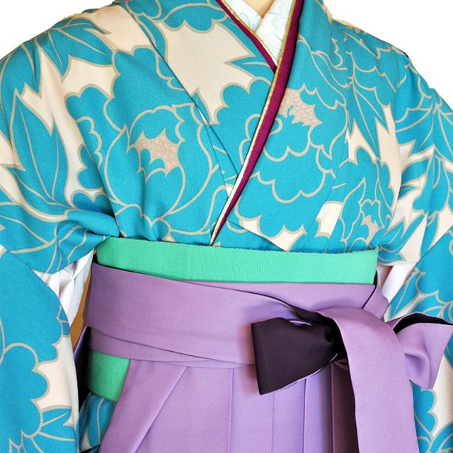 卒業式袴レンタル!紫ぼかしに大胆な刺繍花柄の袴&『和風館パーティー着物』単色水色花柄ladies'hakama1[往復送料無料] - 画像1
