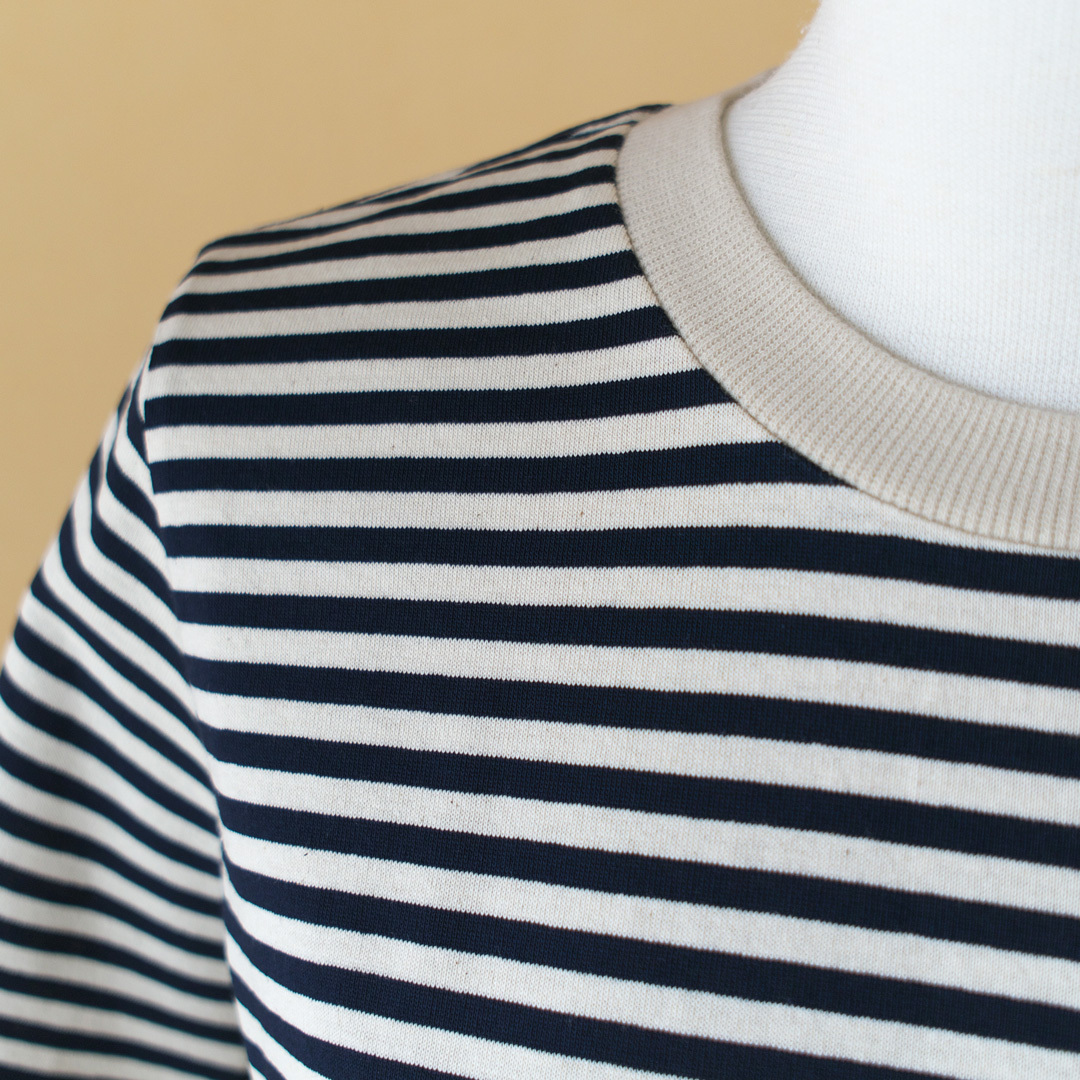 atelier naruse アトリエナルセ コットンボーダーカットソー cotton border cut&sewn・ベージュxネイビー