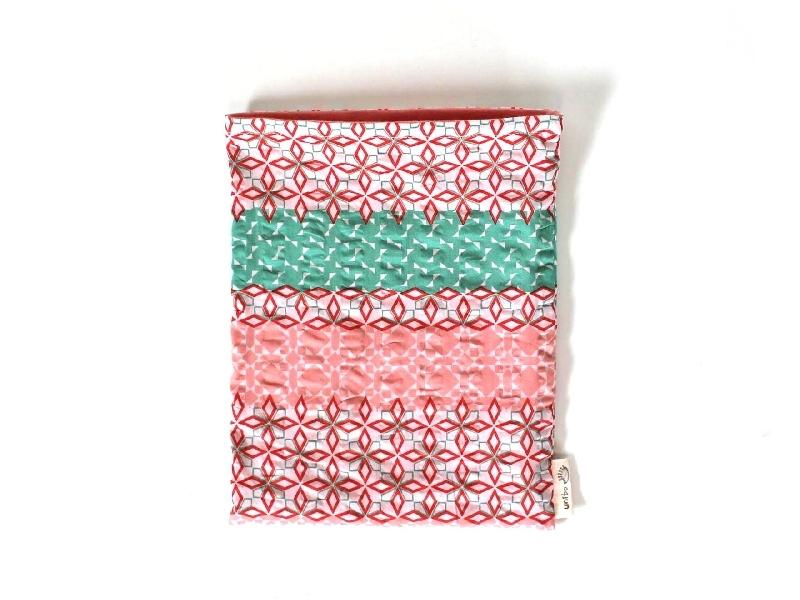 ハリネズミ用寝袋 M(夏用) 綿リップル×スムースニット 和柄 ピンク