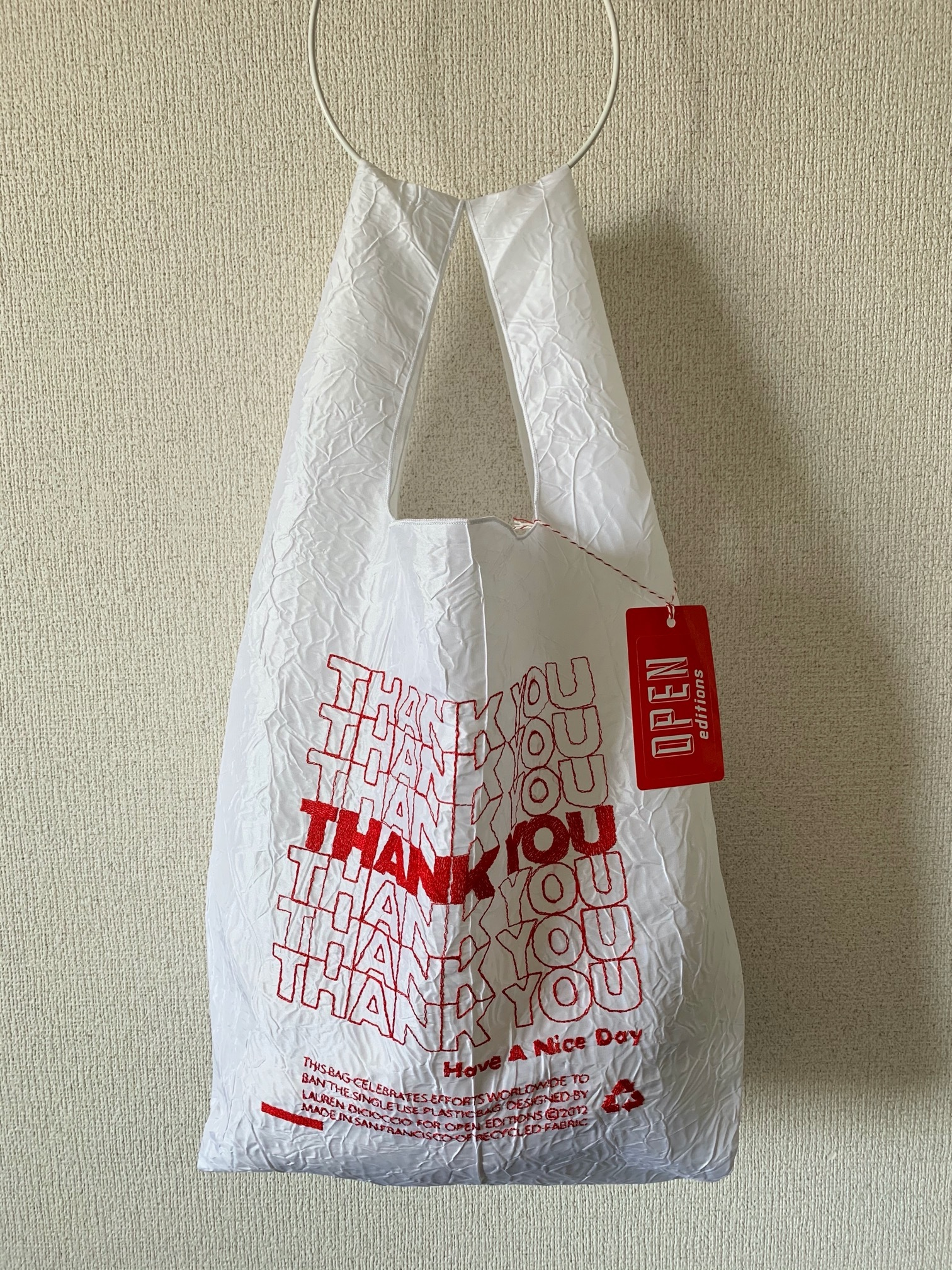 【OPEN EDITIONS】THANK YOU TOTE エコバッグ/ THANK YOU Red