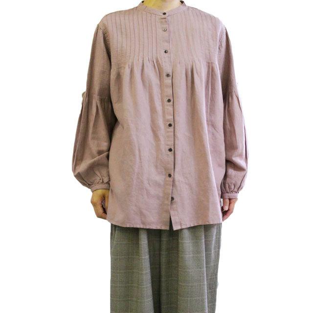 YARRA  ヤラ YR-84-028  ピンタックマオカラーシャツ 着丈が長めのチュニックシャツ