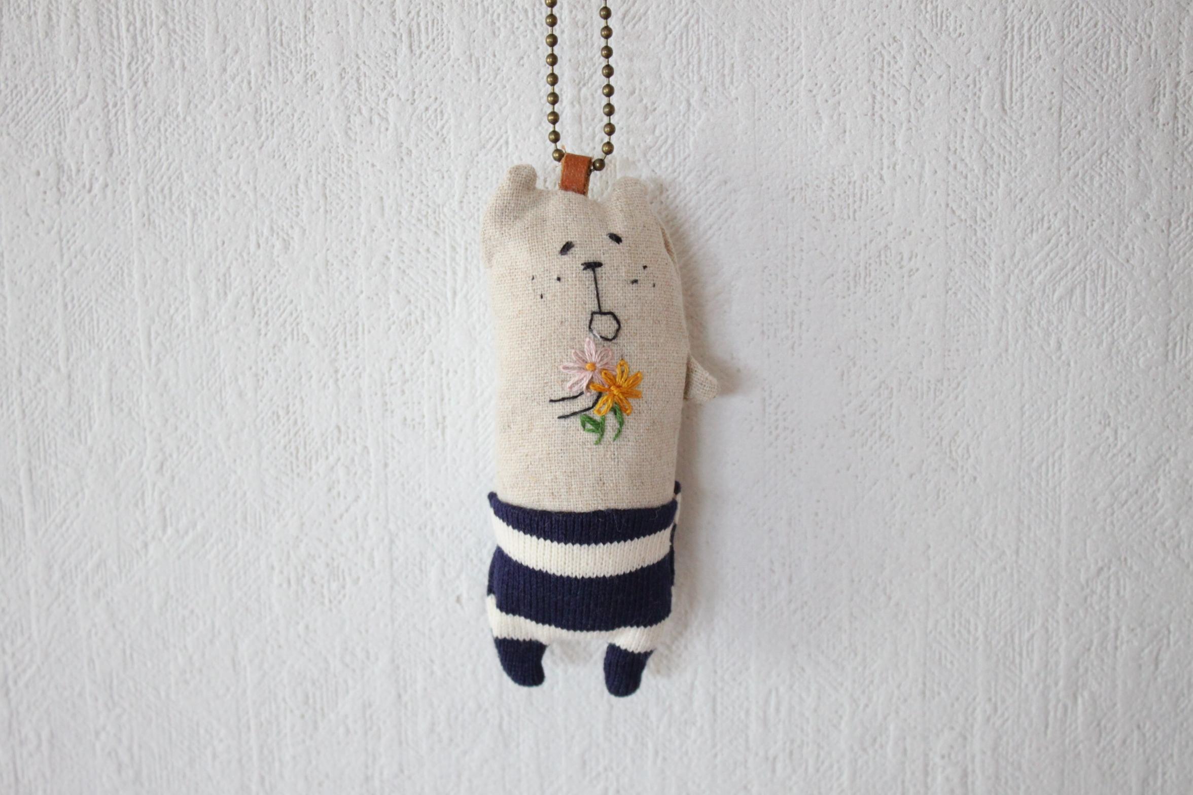 muuちゃん 手刺繍 花束 マスコット