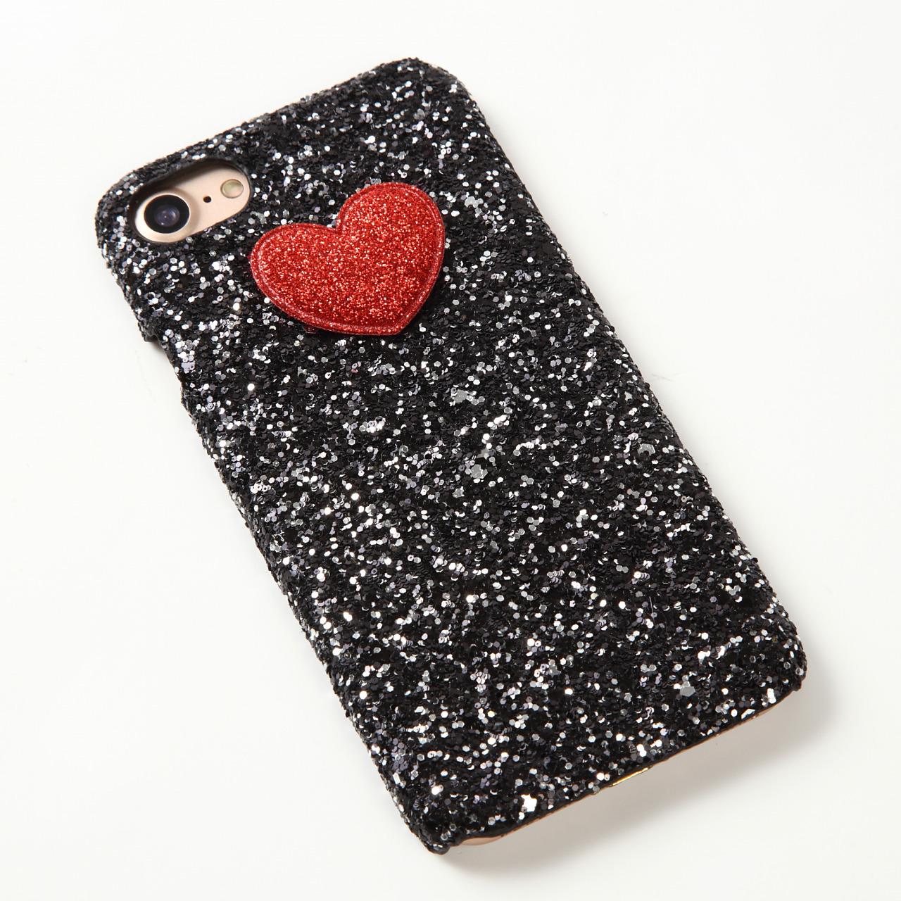 【即納★送料無料】ブラックグリッターケースにかわいいハート付iPhoneケース