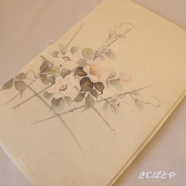正絹ひげ紬 白地に花のなごや
