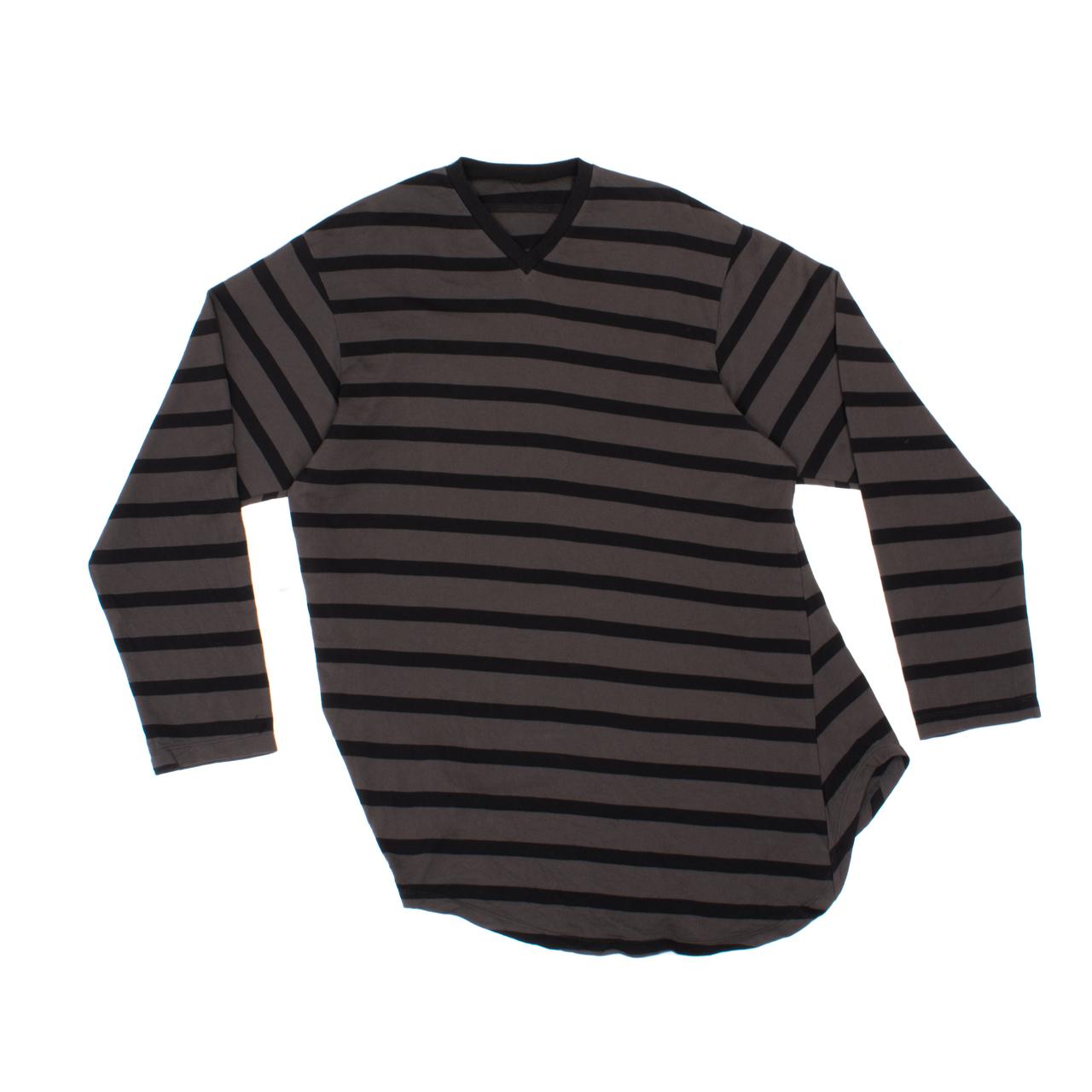 707CUM2-CHARCOAL×BLACK / ストライプロングスリーブ Tシャツ