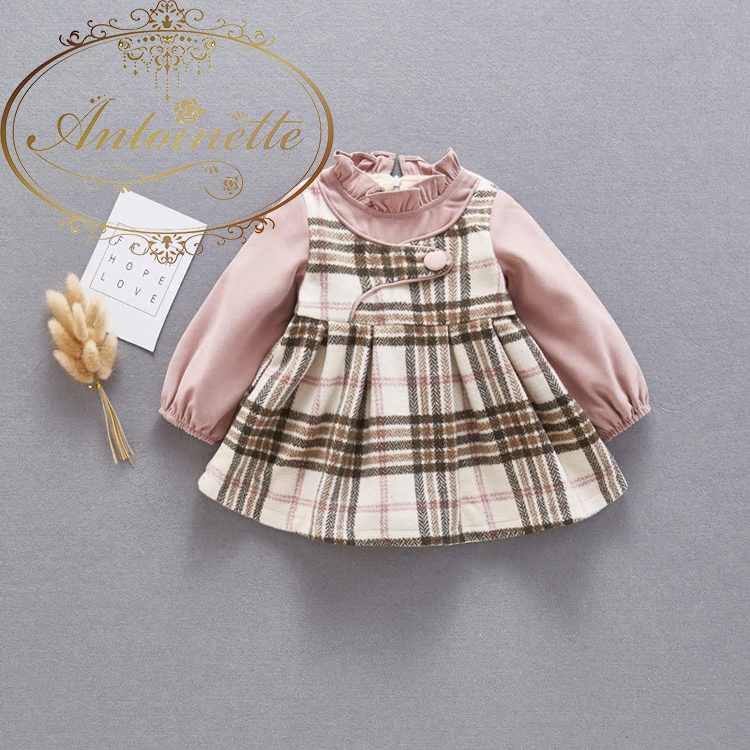 Autumn Warm Winter Girls'Thickened Spliced Dresses Style Wool Princess Pacthed Baby Girls children Clothing Dress Suit