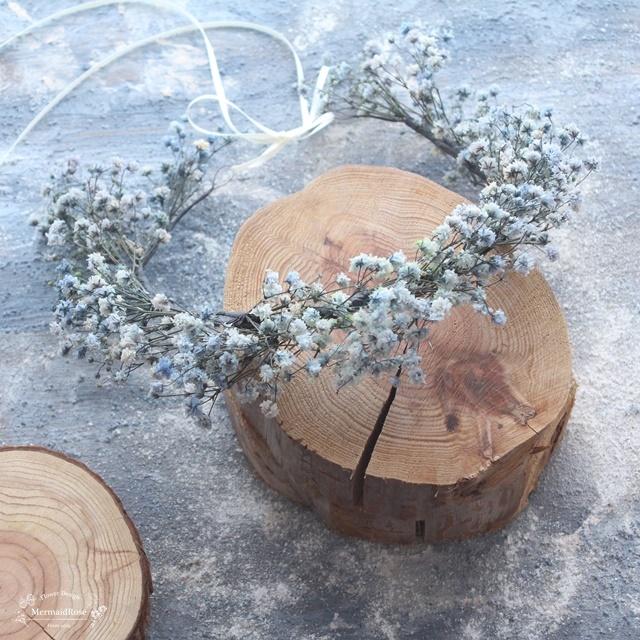ラスティックかすみ草の花冠S*デニムブルー