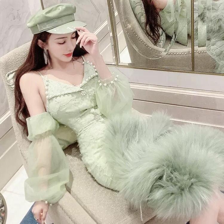 off shoulder pearl green dress