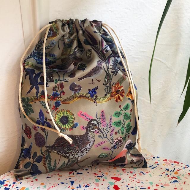 Nathalie Lete Satin drawstring pouch Bird ナタリーレテ サテンポーチ 鳥