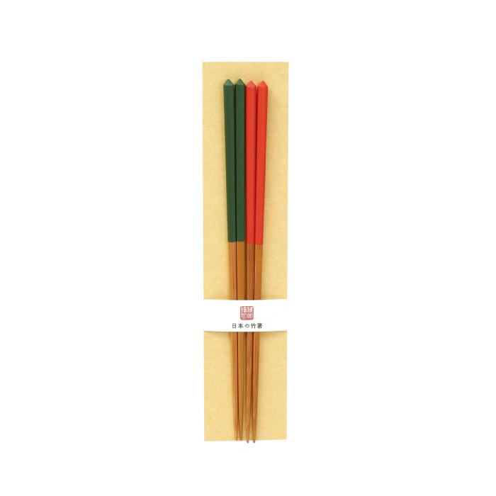 ダイヤカット箸セット(緑・朱) 【45-202】