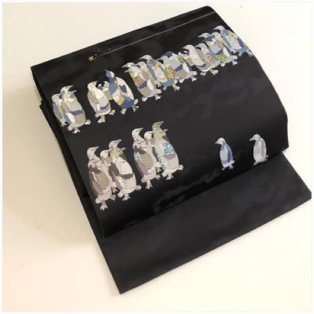★ 美品 洒落袋帯 流れ星 ペンギン 正絹 ★ 2801e
