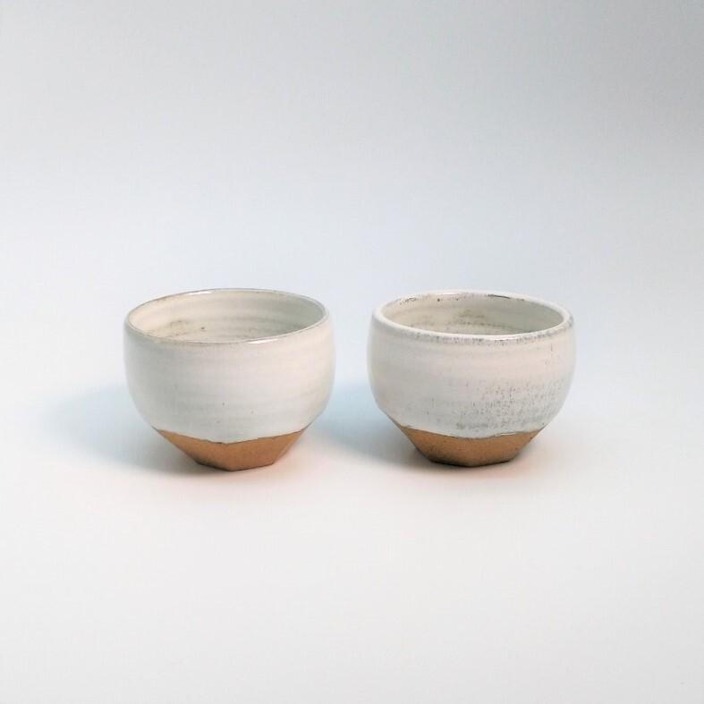 八角ミニミニ小鉢 白2個セット【仁 陶器工房】