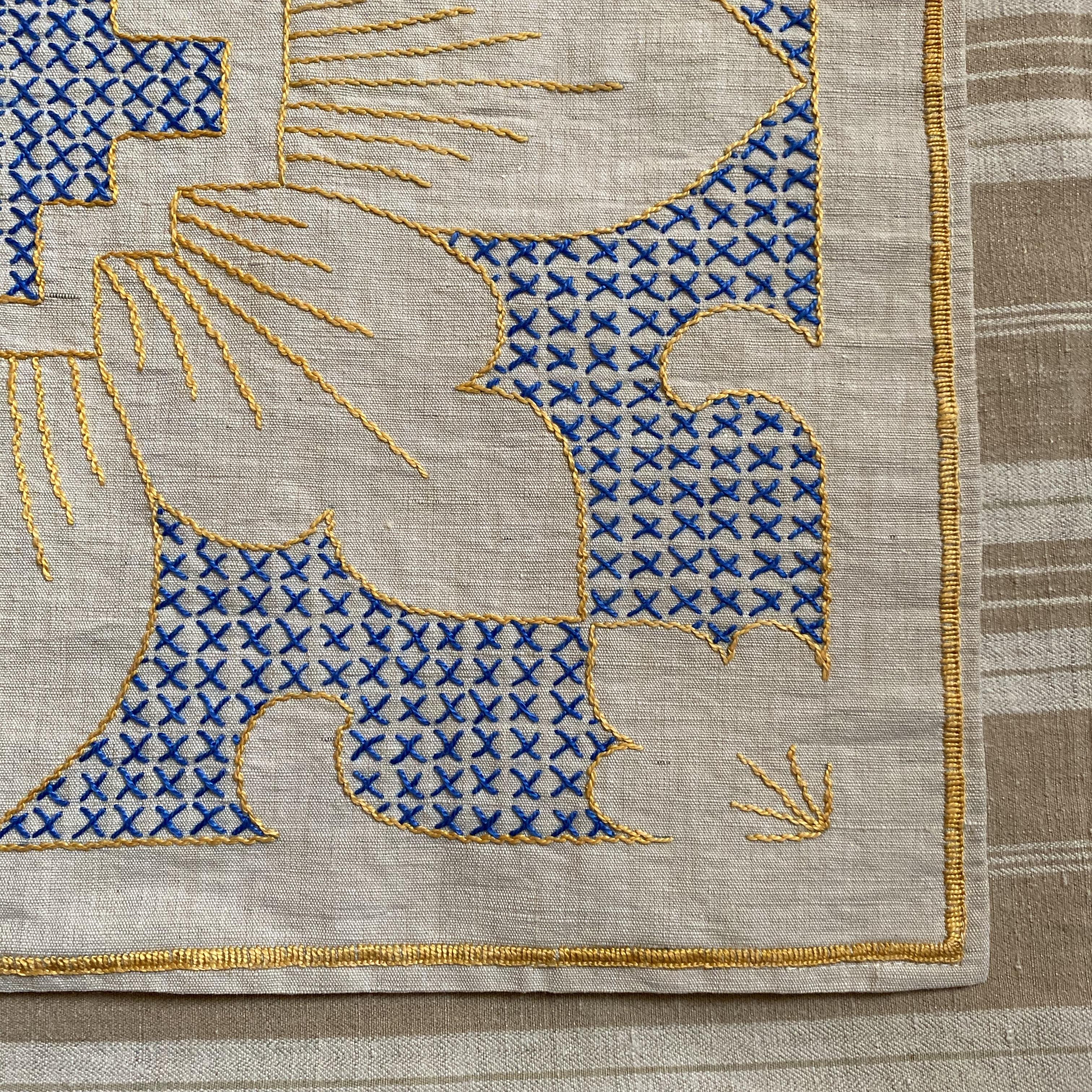 France ヴィンテージ手刺繍ドイリー・青と黄色 / uv0099